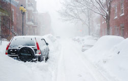 Montreal, QC, Canada - 27 December 2012 Historisch Sneeuwonweer stock foto