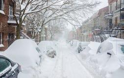 Montreal QC, Kanada - 27th December 2012 Historisk snöstorm Arkivbild