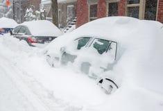 Montreal, QC, Kanada - 27th 2012 Grudzień Dziejowa Śnieżna burza Fotografia Royalty Free