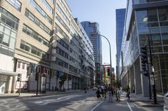 Montreal, Quebec, Canada - 18 July 2016 - Generic street in down royalty free stock photos
