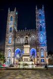 Montreal, Quebec, Canada - July 16, 2014: Notre-Dame Basilica of Montreal at dusk stock photo