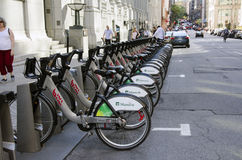 Montreal, Quebec, Canada - 18 July 2016 - Shared bikes are lined. Up in the streets. First large-scale in North America city public bicycle sharing system Bixi Stock Photo