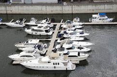 Montreal, Quebec, Canada- July 19 2016: White yachts in the port royalty free stock photography