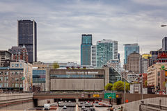 Montreal, Quebec, Canada - May 21, 2017: Convention center Palais des congres de Montreal. Convention center Palais des congres de Montreal 200000 sq ft 19000m2 stock image