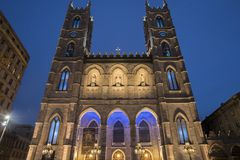 Basilica of Notre Dame, Montreal, Canada at night Stock Image