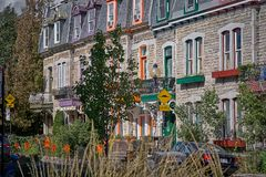 Montreal, Quebec, Canada September 29, 2018: Victorian houses on St. Louis Square. Street of colored houses, Old Town. stock photography