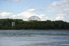 Montreal Quebec, Kanada - 17 Juli 2016: Biosfärsikten från Arkivbild