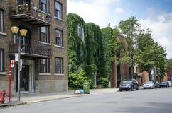 Montreal Quebec, Kanada - 18 Juli 2016 - grönt hus i ett soligt Fotografering för Bildbyråer