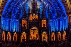 MONTREAL QUEBEC, KANADA - MAJ 21, 2018: Inre av den Notre-Dame De Quebec Basilika-domkyrkan; Quebec City Quebec royaltyfri fotografi