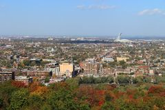 Montreal Quebec with Olympic Stadium at Autumn Royalty Free Stock Photo