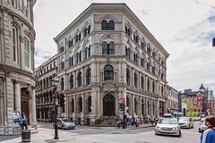 Montreal, Quebeque, Canadá - 21 de maio de 2017: Montreal do centro Cafetaria na construção do Império Britânico Fotos de Stock Royalty Free
