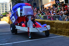 Montreal Red Bull Soapbox Race. Montreal, Canada - September 06, 2015: Montreal Red Bull Soapbox Race in Montreal Downtown.A lot of fun and ingenious ideas royalty free stock photos