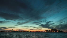 Montreal Saint Lawrence River and Boats Sunset Timelapse stock video