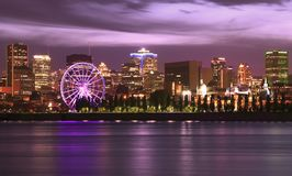 Montreal skiline and St Lawrence River at night. Canada royalty free stock images