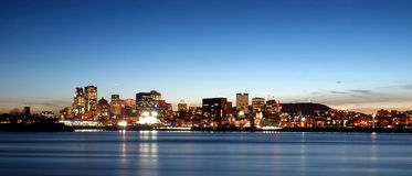 Montreal skyline. At night from jean-drapeau park stock photography