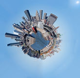 Montreal skyline. 360 degree fish eye panorama of the skyline of Montreal, Quebec, Canada.  Blue background Royalty Free Stock Photography