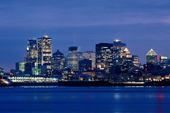 Montreal Skyline. A beautiful seafront view of the Montreal skyline in the evening royalty free stock photos