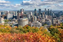 Montreal Skyline with Autumn colours stock photo
