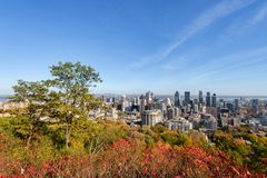Montreal Skyline in Autumn stock images