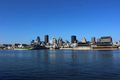 Montreal Skyline. With buildings reflecting in water stock photos
