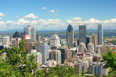 Montreal skyline. Montreal, Canada - July 28, 2008: skyline of downtown Montreal on a cloudy day. View from Mont Royal royalty free stock photo