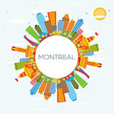 Montreal Skyline with Color Buildings, Blue Sky and Copy Space. Vector Illustration. Business Travel and Tourism Concept with Historic Architecture. Image for stock illustration
