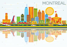 Montreal Skyline with Color Buildings, Blue Sky and Reflections. Vector Illustration. Business Travel and Tourism Concept with Historic Architecture. Image for Royalty Free Illustration