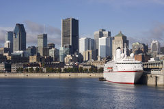 Montreal skyline and cruise ship Royalty Free Stock Photography