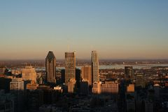 Montreal Skyline at Dusk Stock Images
