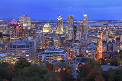 Montreal skyline at dusk in autumn stock photo