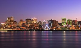Montreal skyline at dusk and St Lawrence River. In Quebec, canada stock image