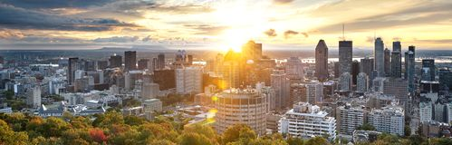 Montreal skyline from Mont Royal stock images