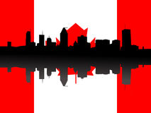 Montreal skyline with flag. Montreal skyline against Canadian Flag illustration Stock Image
