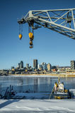 Montreal skyline with a harbour crane Stock Photo