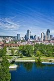 Montreal skyline with the Lachine Canal. In foreground, Quebec, Canada stock photo