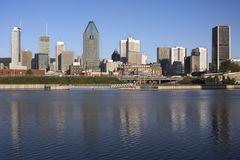 Montreal skyline and Lachine Canal. Quebec, Canada royalty free stock photography
