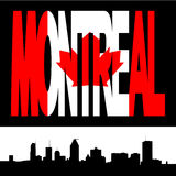 Montreal-Skyline mit Markierungsfahne Stockbild