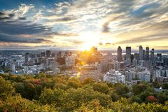 Montreal skyline from Mont Royal royalty free stock photography