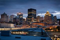 Montreal skyline from Mont Royal stock photography
