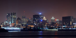 Montreal skyline at night. Panorama of Montreal skyline at night royalty free stock images