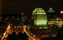 Montreal Skyline by Night. Buildings of Montreal City in Quebec Canada aglow with a brilliance of lights at night Royalty Free Stock Images