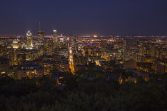 Montreal Skyline at Night. As seen from the top of Mount Royal royalty free stock photography