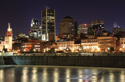 Montreal skyline at night Royalty Free Stock Images