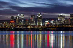 Montreal Skyline at night royalty free stock image