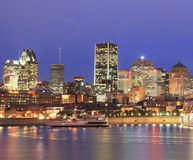 Montreal skyline at night, Saint Lawrence River, Canada Stock Images