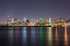 Montreal Skyline. Panoramic view of the Montreal Skyline at Night royalty free stock photos