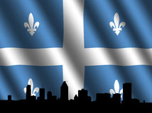 Montreal skyline Quebec flag Royalty Free Stock Images