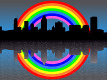 Montreal skyline with rainbow Royalty Free Stock Photos