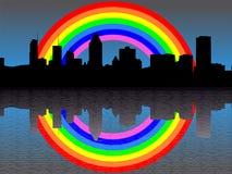 Montreal skyline with rainbow Royalty Free Stock Photos