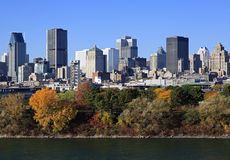 Montreal skyline and Saint Lawrence River in autumn, Quebec Stock Images